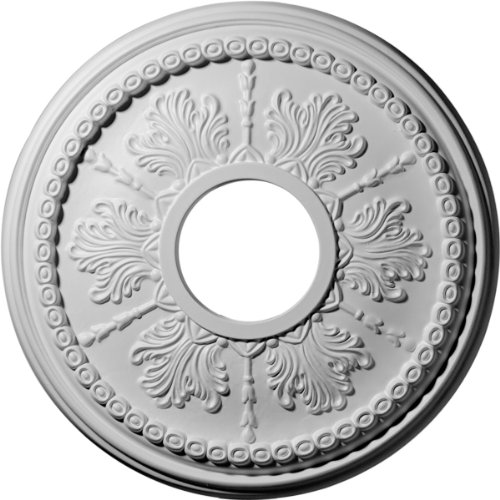 Ekena Millwork CM13TI Tirana Ceiling Medallion, 13 7/8'OD x 3 3/4'ID x 1 1/4'P (Fits Canopies up to 4 3/4'), Factory Primed