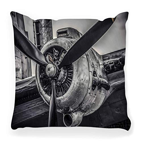 Mesllings Decorative Throw Pillow Cover Square 18x18 Old Aircraft Engine Plane Flight Airport Grunge Power Vintage Abstract Airframe Airplane Antique Aviation Home Decor Zippered Pillowcase