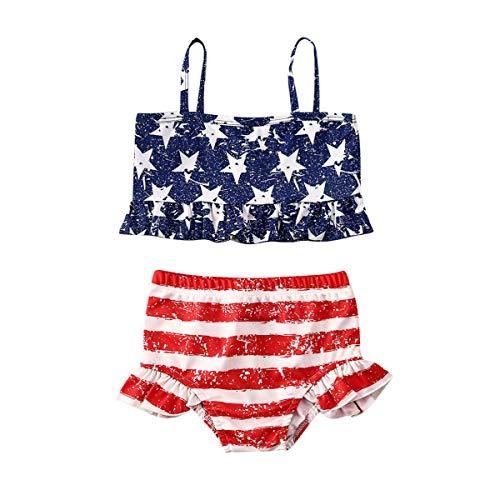 xkwyshop Toddler Baby Girl Swimsuit 2 Piece Striped Bathing Suit Kids Girl Bikini Swimwear Beachwear Swimming Suit (Blue + Red, 18-24 Months)