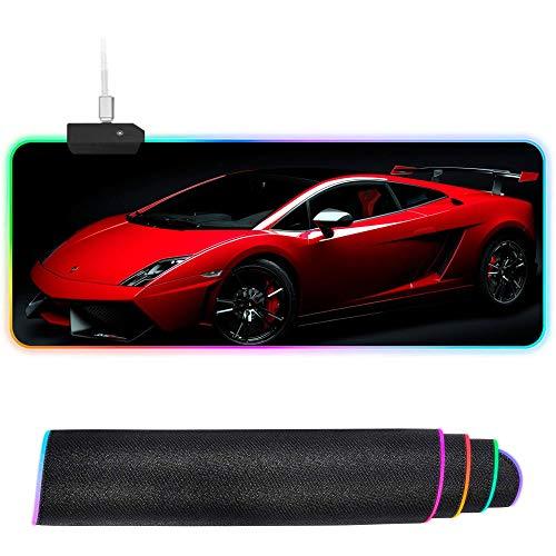 XIAOYANG Alfombrilla de ratón RGB para Juegos LED XXL Grande Alfombrilla Gruesa y Plegable Bordes cosidos antidesgaste para el Teclado, más Disfrute de una Experiencia de Funcionamiento Suave