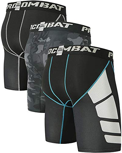 Milin Naco Men Football Tights Shorts, Cool Dry Baselayer Sports Tights, Pack of 3 Stretchy Black/Athletic Black/Compression Camo Black-Medium