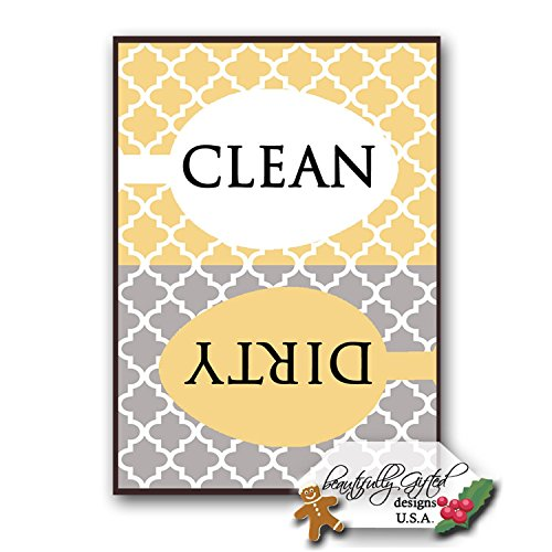 Price comparison product image Clean Dirty Dishwasher Magnet Sign - Modern Elegant Moroccan Trellis Pattern - Yellow Gold Grey - 2.5 x 3.5 - Housewarming,  Gag Gift Idea for Mom Dad / Christmas Stocking Stuffers for Women Men Teens