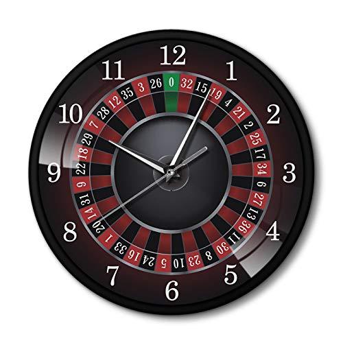 gongyu Reloj de Pared de Ruleta de póquer con Marco de Metal Negro Las Vegas Sala de Juegos Arte de la Pared Decoración Reloj Reloj Juego de Casino Regalo