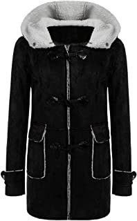 Women Hooded Horn Leather Buckle Faux Fur Fleece Coats Outwear Vintage Warm Jackets