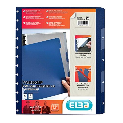 ELBA manageMe Ringmappen-Register A4, mit vario-zipp, 1 - 5, 5-teilig, dunkelblau, 1 Stück