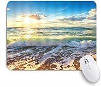 VAMIX マウスパッド 個性的 おしゃれ 柔軟 かわいい ゴム製裏面 ゲーミングマウスパッド PC ノートパソコン オフィス用 デスクマット 滑り止め 耐久性が良い おもしろいパターン (ビーチシーンサンセットサンライズブルースカイオーシャンウェーブシービュー)
