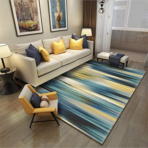 Diseño Moderno Alfombra Rayas de gradiente Simples Azules Adecuado para alfombras para Sala de Estar, Dormitorio, Estudio, habitación Infantil.,120X160(47X63inch)