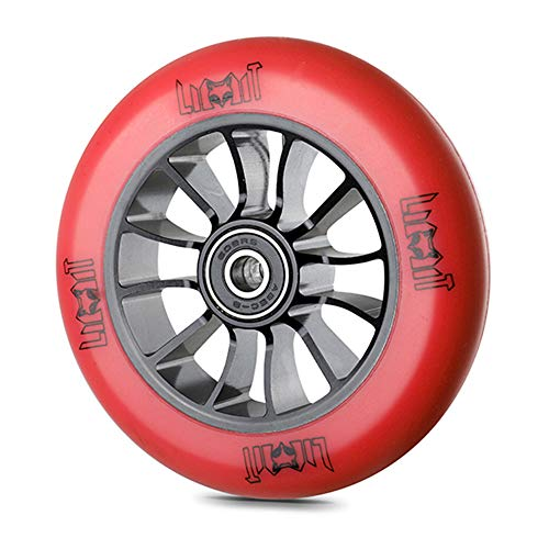 SSCYHT 110mm Rueda Patinete para Acrobacias Rodamientos ABEC-9 Instalados 88A Rueda Repuesto para Scooter Núcleo Metal 2 Piezas,Rojo