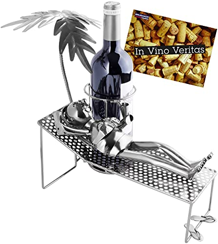 Brubaker Soporte para botellas de vino, diseño de mujer en vacaciones, de metal, con palmera y tumbona, regalo para vino con tarjeta de felicitación