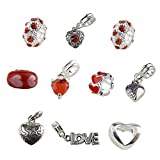 UniqueBeadsAndGifts Set of 10 Red Valentine's Day Heart Charms and Beads