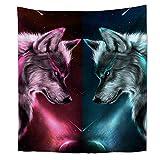 Brandless Tapiz de Lobo de Hielo y Fuego Animal Colorido Surrealista Tapiz Galaxy Stardust Tapiz para Dormitorio Sala de Estar Dormitorio