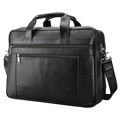 Polare Men's Real Soft Napa Leather 17'' Briefcase Laptop Business Bag Black with YKK Zippers