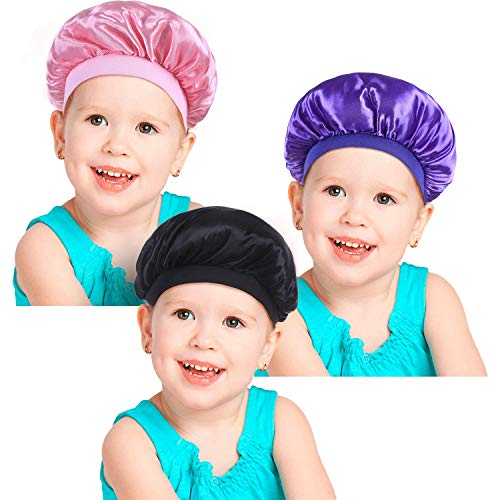 3 Pieces Kids Satin Bonnets Night Sleep Caps Wide Band Sleeping Hats for Kids Toddler Children Baby Color Set 1