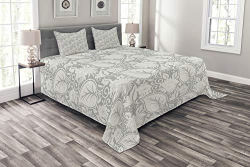ABAKUHAUS Grau Tagesdecke Set, Paisley-blühende Blumen, Set mit Kissenbezügen Romantischer Stil, für Doppelbetten 220 x 220 cm, Grau