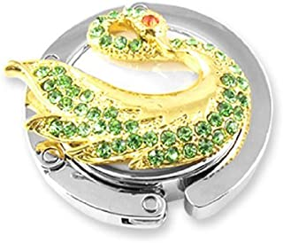 Rhinestone Decor Swan Accent Hook bolsa Tone Hanger ouro