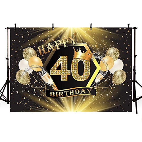 MEHOFOTO Glitter Gold Stars Black Crown Photo Background Gold Champagne Balloons Adult 40th Happy Birthday Party Banner Backdrops for Photography 8x6ft
