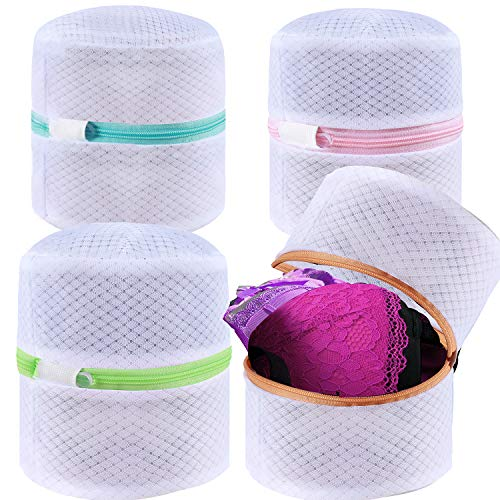 BAGAIL Set of 4 Mesh Bra Wash Bags with Premium Zipper Travel Laundry Bag for Intimates Lingerie and Delicates(Bra Wash Bag 4 Set)