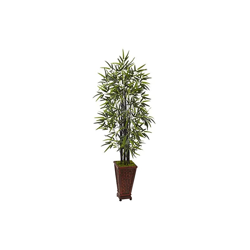 silk flower arrangements nearly natural black bamboo artificial tree, green