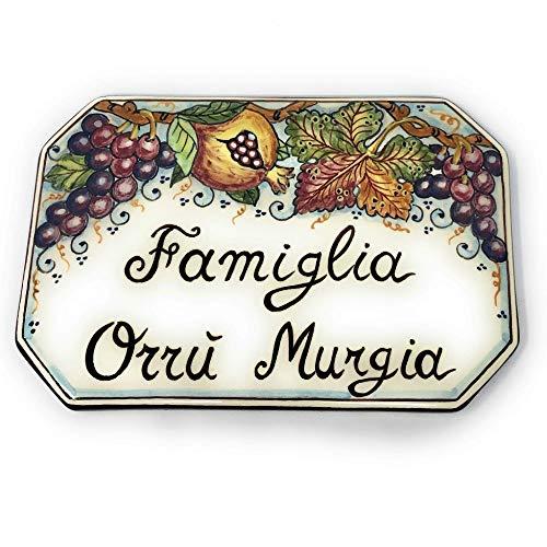 CERAMICHE D'ARTE PARRINI- Künstlerische italienische Keramik Keramik Hausnummer 20x13 individuelle Dekoration Obst, Fliesen handgemacht in Italien Toscana