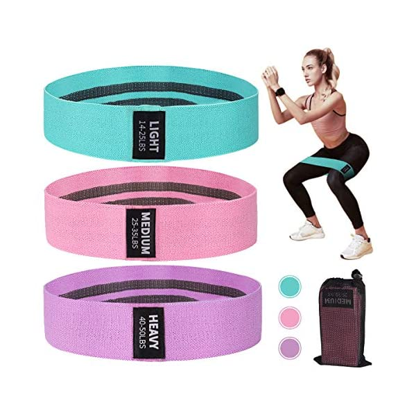 Resistance Bands for Legs and Butt, Exercise Bands Set Booty Bands Hip Bands Wide Workout Bands Resistance Loops Band Anti Slip Elastic Sports Fitness Bands for Squat Glute Hip Training with 3 Levels