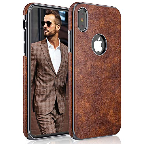 LOHASIC iPhone Xs Case, iPhone X Case Premium Leather Thin Slim Luxury Business PU Soft Non-Slip Grip Full Body Shockproof Protective Phone Cover Cases for iPhone X 10 Xs 5.8 inch - Vintage Brown