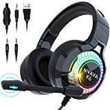 Nivava Gaming Headset for PS4, Xbox One, PC Headphones with Microphone LED Light Mic for Nintendo Switch PS5 Playstation Computer, K6(Black)