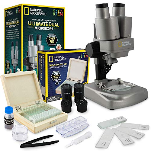 NATIONAL GEOGRAPHIC Microscope Science Kit - Dual LED Microscope for Kids, Ultra Bright 20x & 50x Magnification, 35 Microscope Slides and Covers, Most Complete Microscope Kit for Kids 8-12