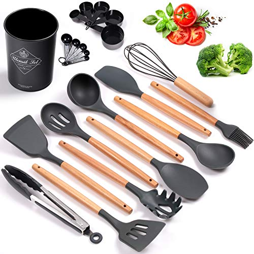 Heat Resistant Silicone Cooking Utensils Set (With Holder) Bpa-Free Silicone Utensils With Wooden Handles for Nonstick Cookware, Cooking, Countertop