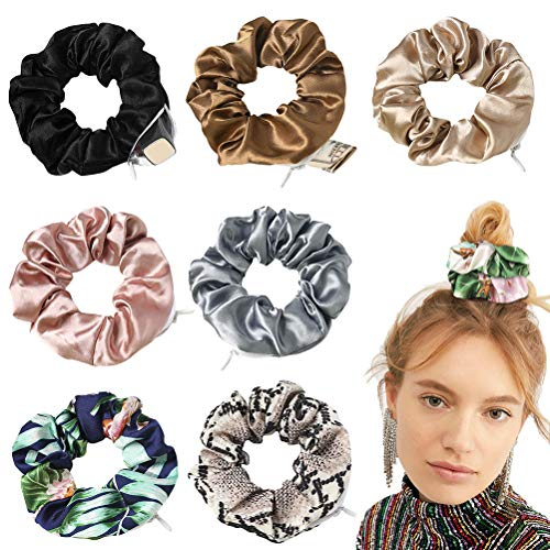 KiMiLIKE 8pcs Frauen-Mädchen-Multifunktions-Haar-Band-Portable-Haarbänder mit Reißverschluss-Tasche Elastische Haarband Headwear Haare Krawatten