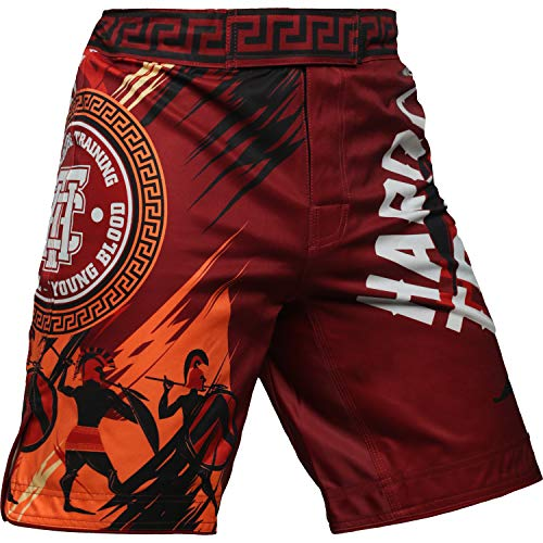 Hardcore Training Sparta Red Fight Shorts Kurze Hose Herren MMA BJJ Grappling Fitness Boxen Muay Thai No Gi