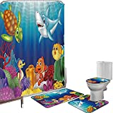 Juego de cortinas baño Accesorios baño alfombras Acuario Alfombrilla baño Alfombra contorno Cubierta del inodoro Dibujos animados de peces tropicales y feliz mundo submarino con corales Biodiversty Th