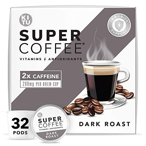Kitu Super Coffee Pods, Energy & Immunity (2x Caffeine, Vitamins, Antioxidants) [Dark Roast] 32 Count | Keto Coffee Pods Compatible with Keurig 2.0 K-Cup Brewers