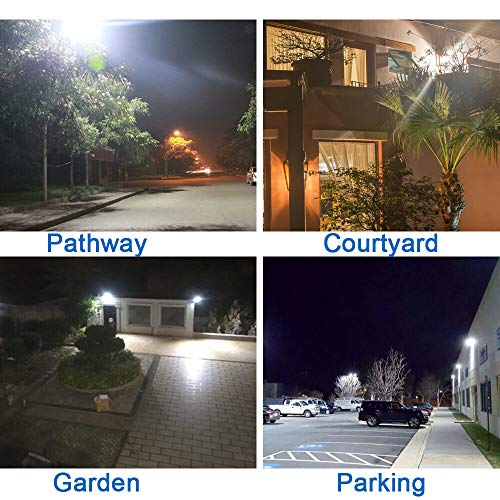 (Pack of 2) SHOPLED 96-LED Outdoor LED Solar Light White 2000 Lumens Motion Sensor Wireless 6 Modes Adjustable Angle with Pole Wall Light Flood Lights Detector Security Lighting for Porch Garage Yard
