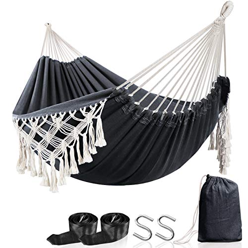 Anyoo Hammock Garden Cotton Hammock Comfortable Fabric Elegant Deluxe Tassels Durable Swing Hammock Up to 450lbs Portable Hammock with Travel Bag,Perfect for Porch Patio Yard Bedroom Outdoor/Indoor