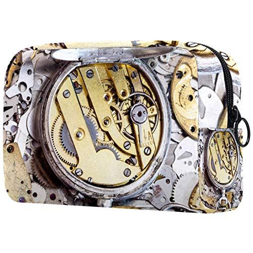 Regalos para Hombres y Mujeres Estuche de Maquillaje Estuche para artículos de tocador Estuche pequeño para cosméticos - Reloj de latón Reloj de Pila de Trabajo, Regalo del día de la Madre