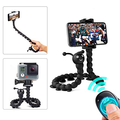 Flexible Phone Tripod, Suction Cup Monopod Tripod Stand with Bluetooth Remote, Portable Mini Tripod Compatible with iPhone/Android Samsung, Sport Camera, Flexible Phone Stand Holder -Black