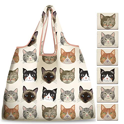 NymphFable 6 Pcs Bolsa Compra Reutilizables Animal Gato Bolsas para Comestibles Ecológicas Plegables Grande