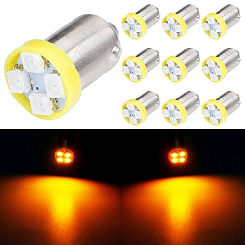 TABEN 10 pièces BA9S Super Lumineux 2200 K Ambre 1210-4SMD LED Ampoules BA9 53 57 1895 64111 Voiture côté Porte courtoisie lumières Carte dôme lumières 12V