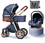 LJYT Baby Doll Stroller 3 in 1 Umbrella Stroller with Car Seat Travel System Foldable Stroller with Footmuff Cooling Pad Mosquito Net Blanket Rain Cover Backpack (Color : Khaki) (Color : Blue)