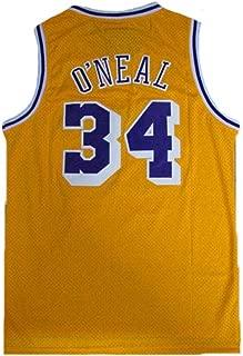 Men's O'Neal Jersey Sports #34 Jerseys Shaquille Basketball Yellow Jersey(S-XXL)