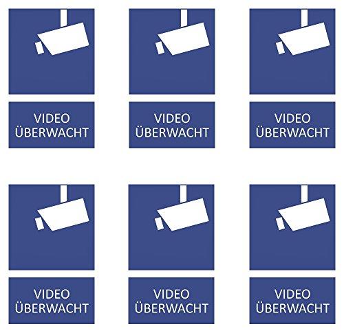 6 Videoüberwachung Aufkleber 85x55 mm, zweiteiliges Schild, Kamera Überwachung, videoüberwacht, effizienter Einbruchsschutz