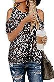 SMENG Camiseta de mujer con hombros descubiertos, de manga corta, con estampado de leopardo, elegante, túnica Negro 42-44