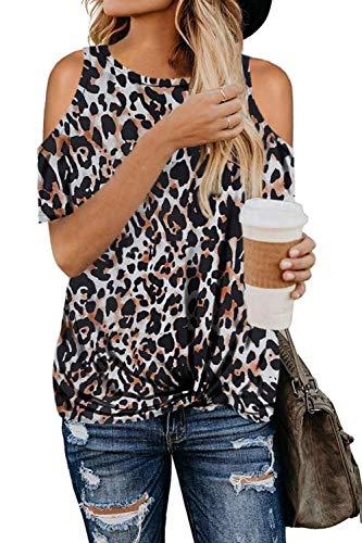 SMENG Camiseta de mujer con hombros descubiertos, de manga corta, con estampado...