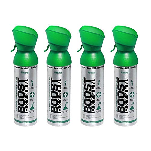 Boost Oxygen Supplemental Oxygen to Go   All-Natural Respiratory Support for Health, Wellness, Performance, Recovery and Altitude (5 Liter Canister, 4 Pack, Natural)