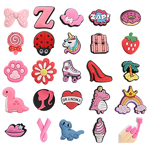 Cute Girl Style Shoe Charm Fits for 25 PCS Clog Shoes Decorations for Kids Boy Girl Adult Men Women Clog Shoes Decoration Halloween, Easter, Party, Gifts Birthday