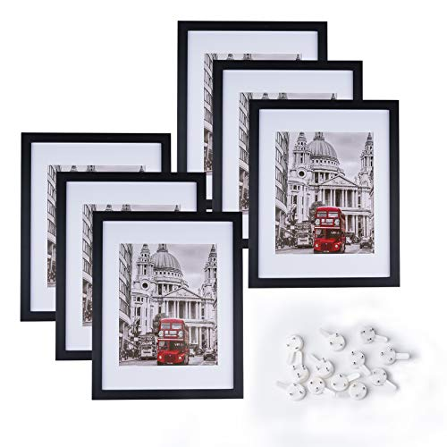 Charein 11x14 Black Picture Frame Set of 6, Photo Frame with Mat and Pictures for Tabletop Display and Wall Hanging Made of Solid Wood