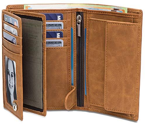 Noah Noir® Geldbeutel Hochformat (15 Kartenfächer) TÜV geprüfter RFID Schutz - mit großem Münzfach (in 3 Farben) mit edler Geschenkbox (Hellbraun)