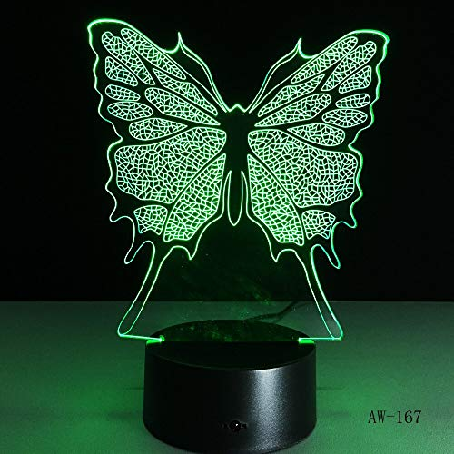 LWJZQT Nachtlampje, vlinder, 3D, gelijmd, helder transparant acrylnachtlampje, ledlampen, kleurwisselende noten-tafels, feestdecoratieve verlichting