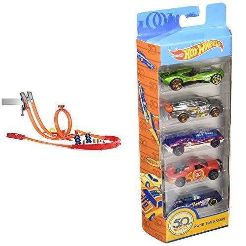 Hot Wheels Y0276 Track Builder Super Track Pack Rennbahn, Trackset mit Looping &  Wheels 01806 5er Pack 1:64 Die-Cast Fahrzeuge Geschenkset, je 5 Spielzeugautos, zufällige Auswahl