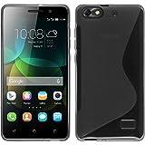 PhoneNatic Hülle kompatibel mit Huawei Honor 4c - grau Silikon Hülle S-Style + 2 Schutzfolien